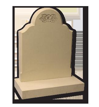ET107 - Sandstone Headstone with Carved Flower Design Image