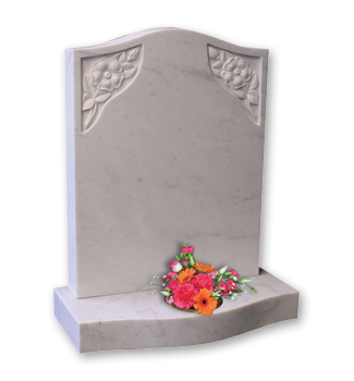 ET110 - Marble headstone with carved flowers and curved front base Image